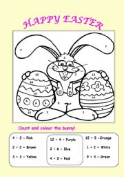 English Worksheets Count And Colour The Easter Bunny
