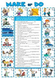 English Worksheet: MAKE or DO collocations (B&W + KEY included)