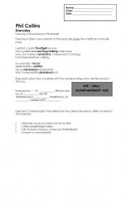 English Worksheet: Phil Collins-Listening Comprehension Worksheet