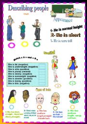 English Worksheets: **Describing peoples** part01