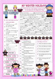 English Worksheets: MY WINTER HOLIDAYS / Reading-Past Simple