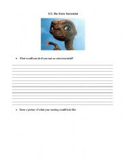 English Worksheets: E.T. Pre-Viewing Exersise