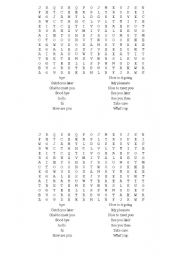 English Worksheets: GREETINGS WORDSEARCH