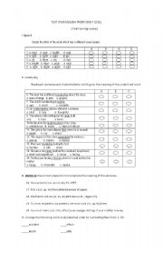 English Worksheet: Test your english proficiency level ( for first year high school)