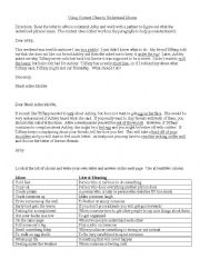 English Worksheet: Idioms and Context Clues