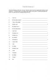 English Worksheets: finish sentences