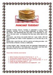 English worksheet: Pancake Day/Shrove Tuesday -reading  practice