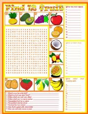 Wordsearch: Fruit – vocabulary • 5 tasks • keys included • 2 pages • fully editable