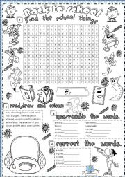 English Worksheet: back to school