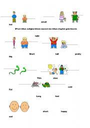 English worksheets: basic adjectives