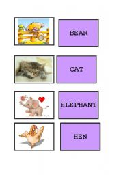 English Worksheets: memory card - animals