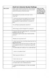 English Worksheets: Death of A Salesman - quotes challenge