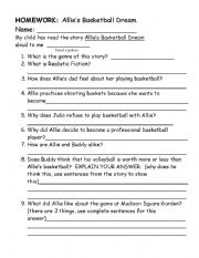 basketball homework sheets