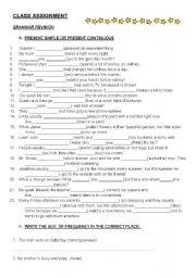 English Worksheet: GRAMMAR REVISION ASSIGNMENT