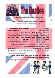 English Worksheets: The Beatles, gap filling