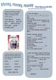 English Worksheet: Money, money, money, song from Mamma Mia