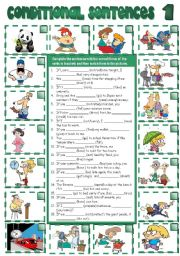 English worksheet: CONDITIONAL SENTENCES - type 1 (B&W + KEY included)