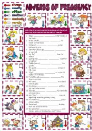 English Worksheets: Adverbs of Frequency (B&W +  KEY included)