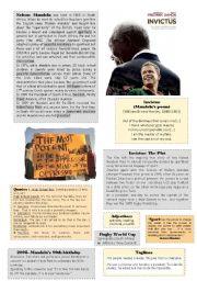 English Worksheet: Mandela and Invictus
