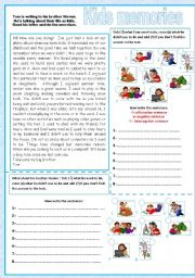 English Worksheets: Kids memories - used to / didn�t use to