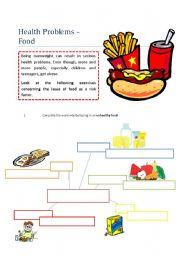 Intermediate ESL worksheets: Healthy/unhealthy food