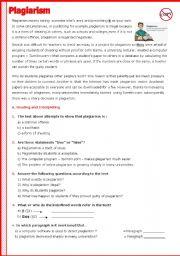 English Worksheets: Plagiarism