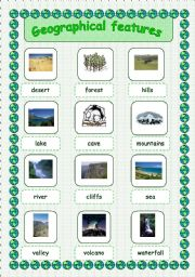 English Worksheets: Geographical features - pictionary