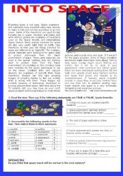 English Worksheet: Going into space