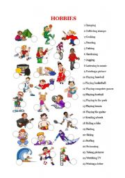 English Worksheet: Free time and hobbies - Picture dictionary