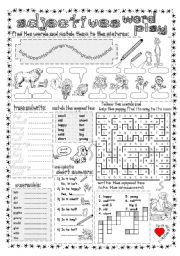 English Worksheets: Adjectives Word Play