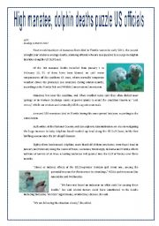 English Worksheet: THE DEATH OF MAMMALS - ENVIRONMENT