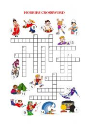 English Worksheets: Free time and hobbies - Crossword