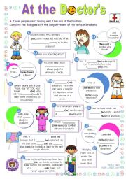 English Worksheet: At the Doctor�s  -  short dialogue series