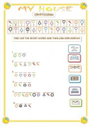English Worksheets: MY HOUSE CRYPTOGRAM