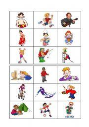English Worksheet: Free time and hobbies - Bingo 1/3