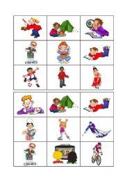 English Worksheet: Free time and hobbies - Bingo 2/3