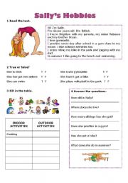 English Worksheet: Free time and hobbies - Sally�s hobbies
