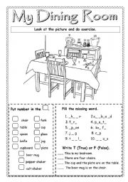 English teaching worksheets the dining room for Dining room vocabulary esl