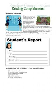 English Worksheets: My School (Reading Comprehension)
