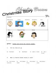 English worksheet: Charlie Brown Christmas story comprehension Questions