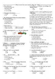 English Worksheet: 8th Grades First Term Final Test and Placement Test