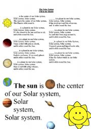 English Worksheet: **The Solar system Song***. Fill in the blanks  on the song.Posters with the song included