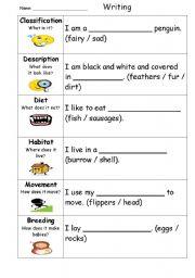English Worksheets: Penguin Information Report