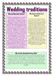 English Worksheet: Wedding traditions 2