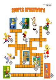 English Worksheet: SPORTS CROSSWORD WITH SIMPSONS CHARACTERS