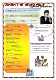 English Worksheets: WHEN I�M SIXTY FOUR by the Beatles (song, listening comprehension)