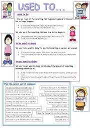 English Worksheet: USED TO : GRAMMAR & PRACTICE
