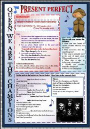 English Worksheet: QUEEN, WE ARE THE CHAMPIONS. PRESENT PERFECT. SPEAKING. LISTENING. FULLY EDITABLE. KEY INCLUDED
