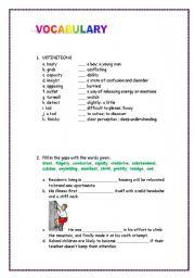 English worksheet: ADVANCED VOCABULARY