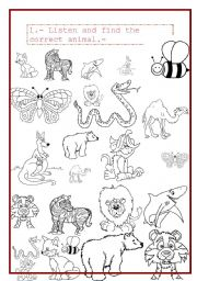 English Worksheets: find the correct animals
